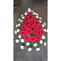 Coroana funerara gerbera si crizanteme