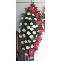 Coroana funerara crizanteme si anthurium