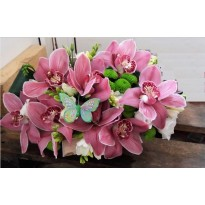 Cutie cu orhidee, frezii si santini
