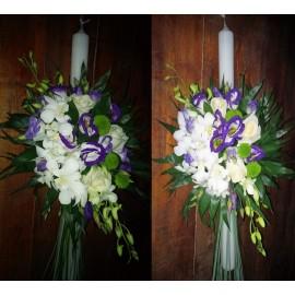Lumanari de nunta cu trandafiri,orhidee si  santini