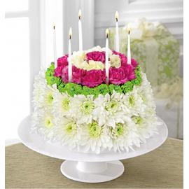Aranjament  floral tort cu lumanari