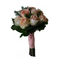 Buchet mireasa  din trandafiri si diverse plante