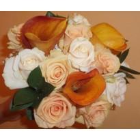 Buchet mireasa  din trandafiri si cale