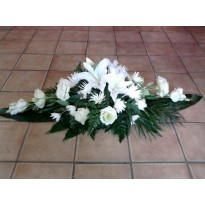 Coroana crizantema lisianthus si crin