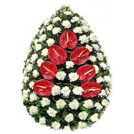 Coroana  funerara garoafe si anthurium
