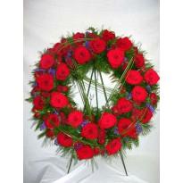 Coroana  funerara trandafiri si minirosa