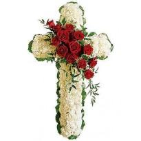 Coroana model cruce garoafe cu trandafiri