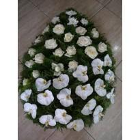 Coroana  trandafiri crizanteme si orhidee