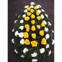 Coroana combinatie crizanteme cu trandafiri