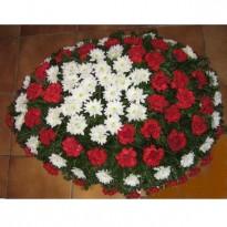 Coroana funerara 80 fire garoafe si crizanteme