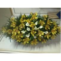 Coroana funerara din orhidee si cale