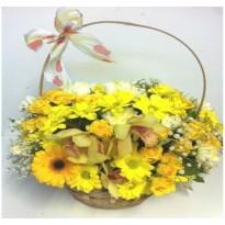 Cos  cu flori alb galben