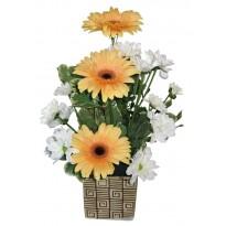 Cos cu gerbera si crizanteme