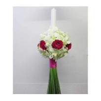 Lumanare botez din orhidee dendrobium si trandafiri