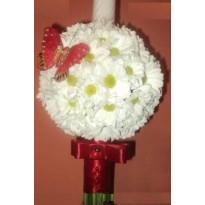 Lumanare botez din crizanteme cu floturas