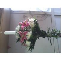 Lumanare botez  crizanteme si crin