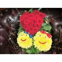 Aranjament  2 smiley face si o inima din 20 trandafiri