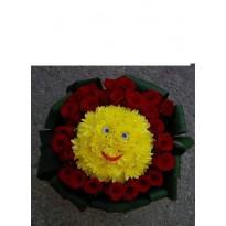 Aranjament  1 smiley face si 30 de trandafiri