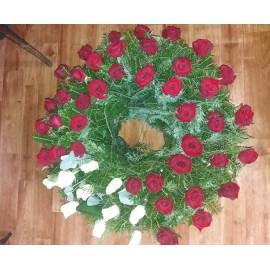 Coroana  funerara  rotunda 50 trandafiri